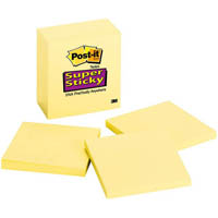 POST-IT 654-6SSCY SUPER STICKY NOTES 65 SHEETS 76 X 76MM CANARY YELLOW PACK 6