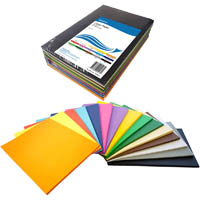 INITIATIVE COVER PAPER 125GSM A4 15 COLOUR ASSORTED PACK 500