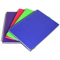 CUMBERLAND COLOURED NOTEBOOK SPIRAL BOUND FEINT RULED 200 LEAF A5 BRIGHT ASSORTED