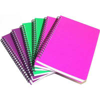 CUMBERLAND COLOURED NOTEBOOK SPIRAL BOUND FEINT RULED 100 LEAF A4 BRIGHT ASSORTED