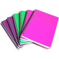 CUMBERLAND COLOURED NOTEBOOK SPIRAL BOUND FEINT RULED 100 LEAF A6 BRIGHT ASSORTED
