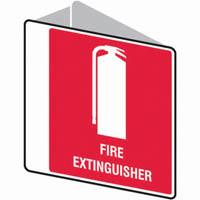 TRAFALGAR DOUBLE SIDED FIRE SIGN FIRE EXTINGUISHER 225 X 225MM