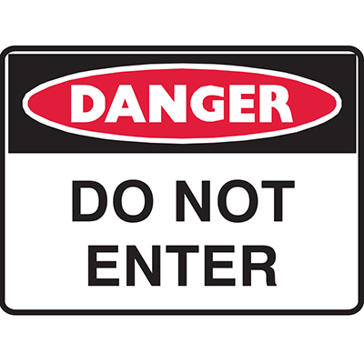 Image for BRADY DANGER SIGN DANGER DO NOT ENTER 450 X 300MM POLYPROPYLENE from Challenge Office Supplies