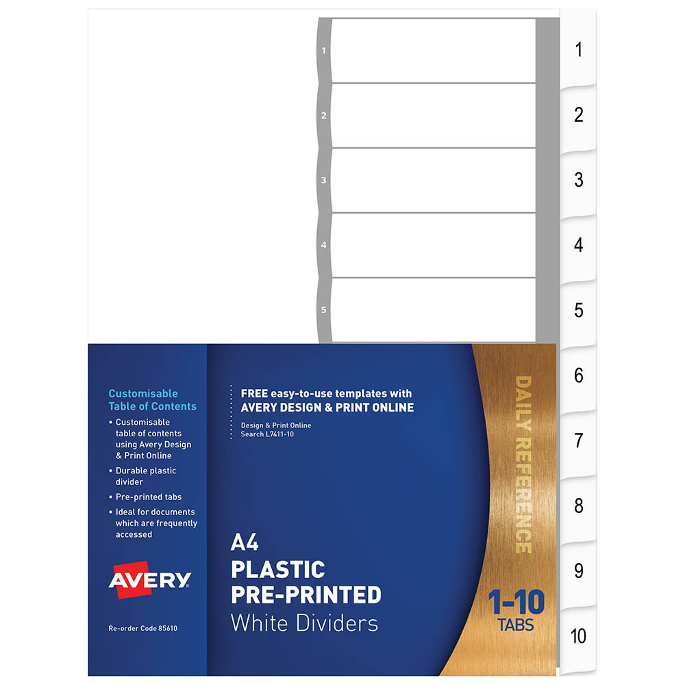 AVERY 85610 L7411-10 DIVIDER 1-10 INDEX TAB A4 WHITE | York Stationers