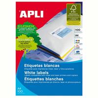 APLI 1264 GENERAL USE LABELS SQUARE CORNERS 2UP 210 X 148.0MM A4 WHITE 100 SHEETS