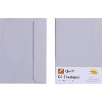 QUILL C6 COLOURED ENVELOPES PLAINFACE STRIP SEAL 80GSM 114 X 162MM GREY PACK 25