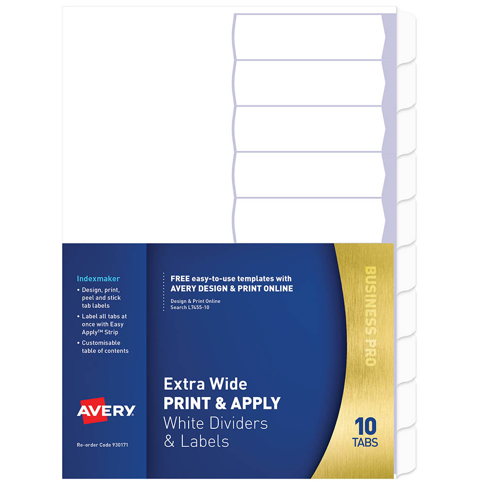 Avery 930171 L7455 10 Divider Extra Wide Print Apply 1 10 Tab