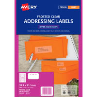 AVERY 936009 J8551 ADDRESS LABEL FROSTED CLEAR INKJET 65UP CLEAR PACK 25