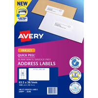 AVERY 936047 J8160 QUICK PEEL ADDRESS LABEL WITH SURE FEED INKJET 21UP WHITE PACK 50