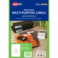 AVERY 959151 L7169REV REMOVEABLE MULTI-PURPOSE LABEL 4UP WHITE PACK 25
