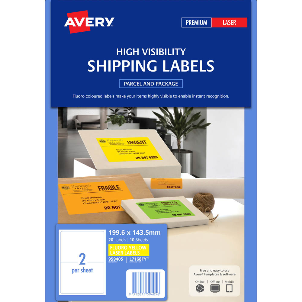 avery 959405 l7168fy high visibility shipping label laser 2 up
