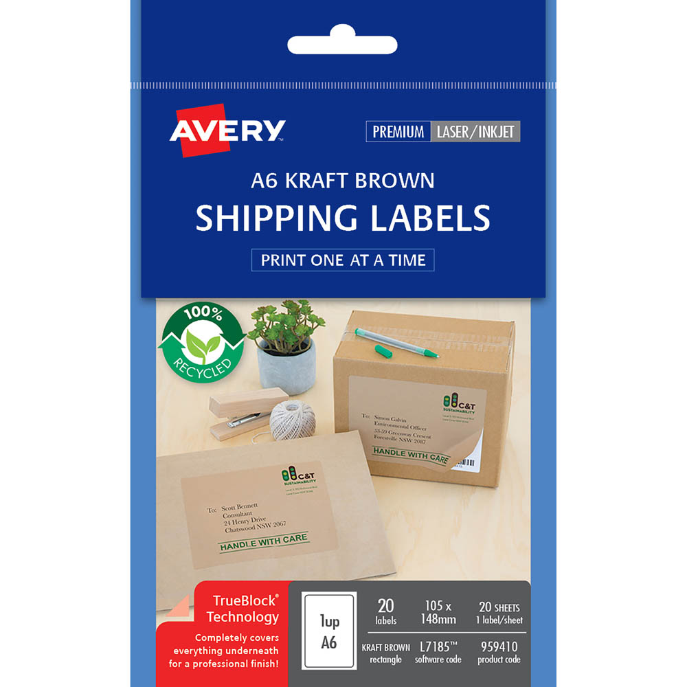 AVERY 959410 L7185 100% RECYCLED SHIPPING LABEL A6 105 X