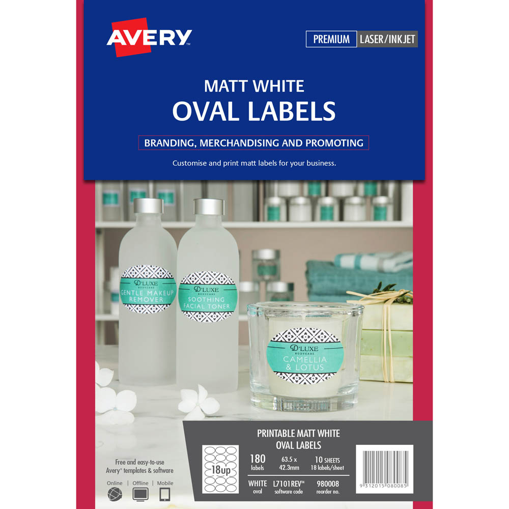 Avery 980008 L7101rev Removeable Product Label Oval White Pack 180