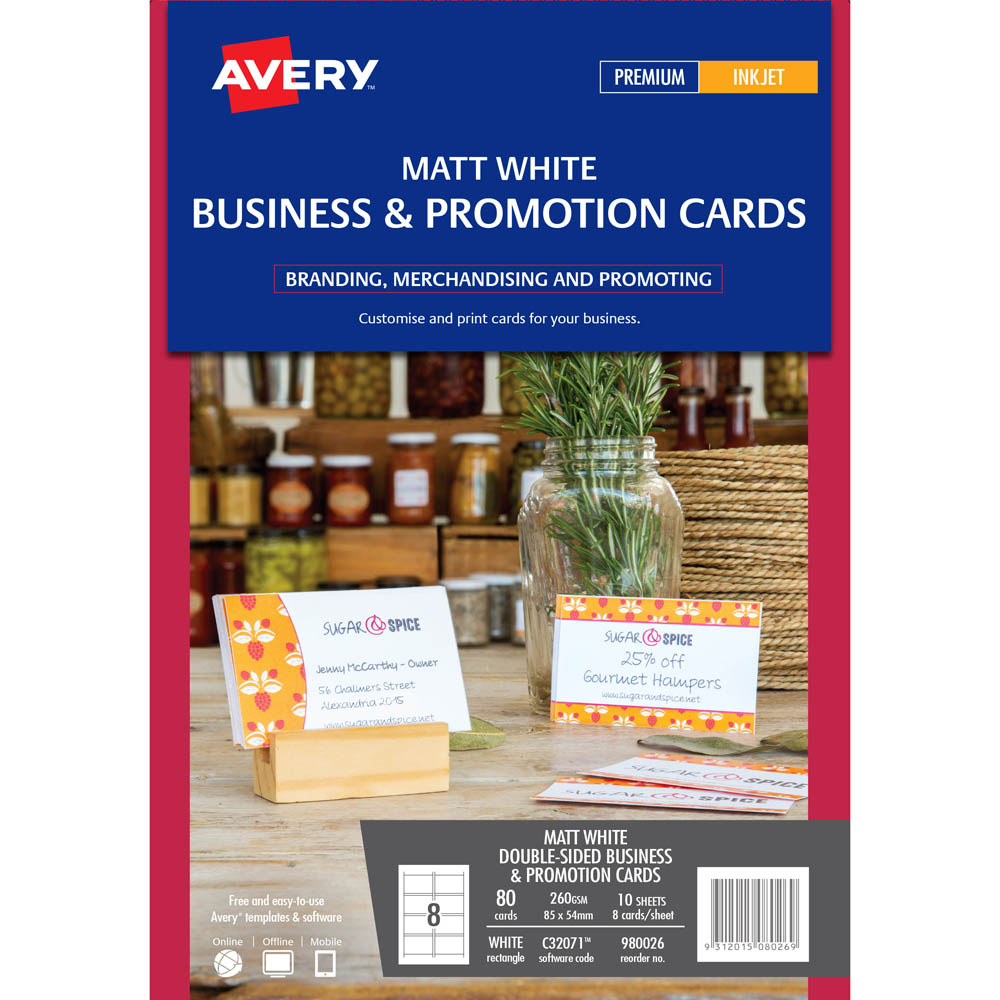 Avery 980026 c32071 business card 260gsm 85 x 54mm white pack 100 image for avery 980026 c32071 business card 260gsm 85 x 54mm white pack 100 from holiday reheart Images