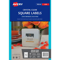 AVERY 980032 L7095 PRODUCT LABEL SQUARE LASER 20UP CLEAR PACK 10