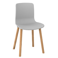 DAL ACTI WOODEN 4-LEG CHAIR WITH LIGHT GREY SHELL