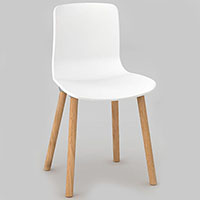 DAL ACTI WOODEN 4-LEG CHAIR WITH WHITE SHELL