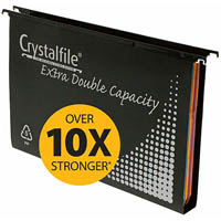CRYSTALFILE PP EXTRA DOUBLE CAPACITY SUSPENSION FILES 30MM BLACK BOX 10