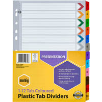 MARBIG INDEX DIVIDER MANILLA 1-12 TAB A4 ASSORTED