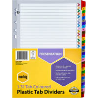 MARBIG INDEX DIVIDER MANILLA 1-31 TAB A4 ASSORTED