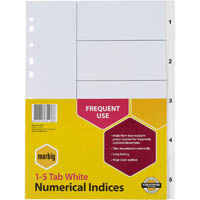MARBIG INDEX DIVIDER PP 1-5 TAB A4 WHITE