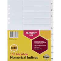 MARBIG INDEX DIVIDER PP 1-10 TAB A4 WHITE