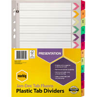 MARBIG INDEX DIVIDER REINFORCED MANILLA JAN-DEC TAB A4 FLUORO ASSORTED
