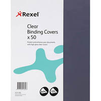 REXEL BINDING COVER PVC 150 MICRON A4 CLEAR PACK 50