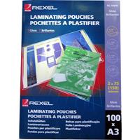 REXEL LAMINATING POUCH 75 MICRON A3 CLEAR PACK 100