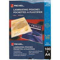 REXEL LAMINATING POUCHES A4 GLOSS 125 MICRON PACK 100