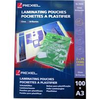 REXEL LAMINATING POUCH 100 MICRON A3 CLEAR PACK 100