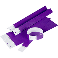 REXEL TYVEK WRISTBANDS WITH SERIAL NUMBER PURPLE PACK 10