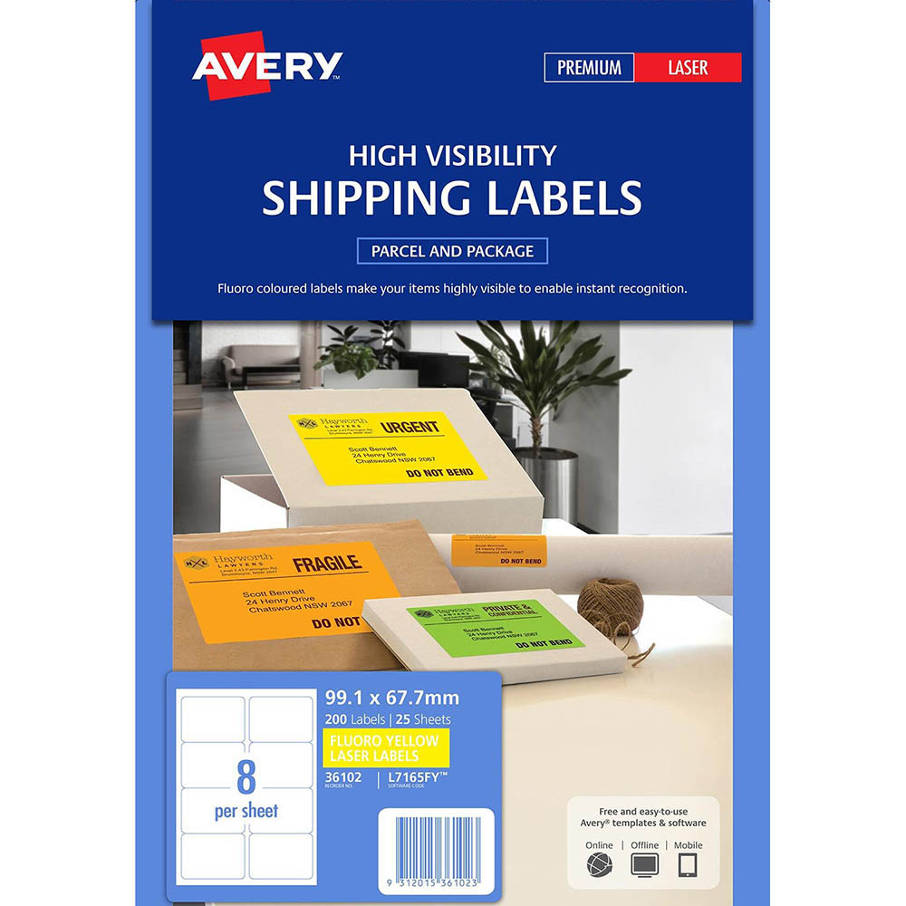 Avery 36102 L7165fy Shipping Label 8up 991 X 677mm Fluoro Yellow