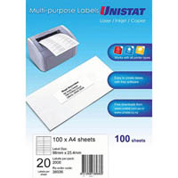 UNISTAT 38936 MULTIPURPOSE LABEL 20UP 98 X 25.4MM WHITE PACK 100
