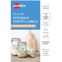 AVERY 39029 KITCHEN AND PANTRY LABELS RECTANGULAR ASSORTED PACK 16