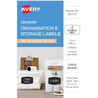 AVERY 39103 ORGANISATION AND STORAGE CHALKBOARD LABELS RECTANGULAR 132 X 88MM PACK 4