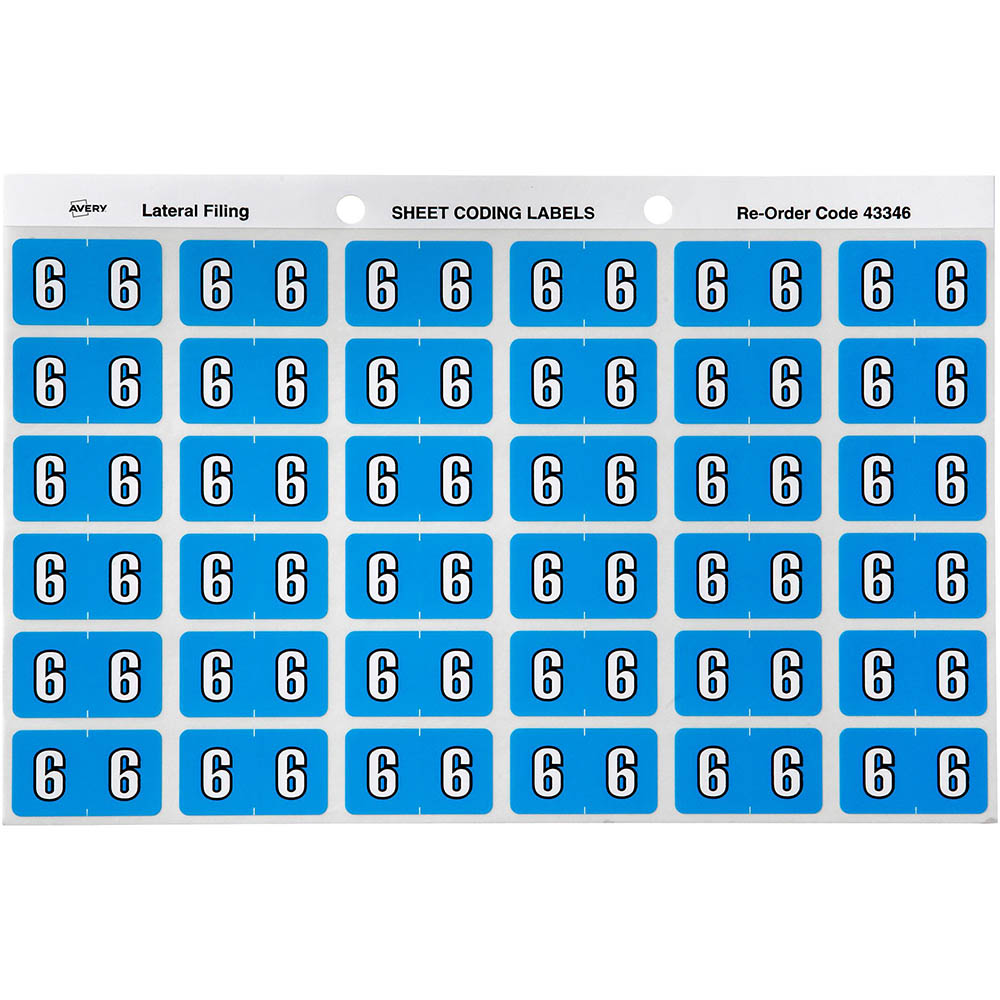AVERY 43346 LABEL SIDE TAB NO.6 COLOUR CODE 25 X 38MM BLUE PACK 180 ...