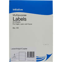 INITIATIVE MULTI-PURPOSE LABELS 1UP 199.6 X 289.1MM PACK 100