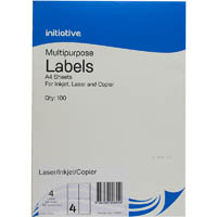 INITIATIVE MULTI-PURPOSE LABELS 4UP 99.1 X 139MM PACK 100