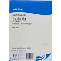 INITIATIVE MULTI-PURPOSE LABELS 16UP 99.1 X 34MM PACK 100