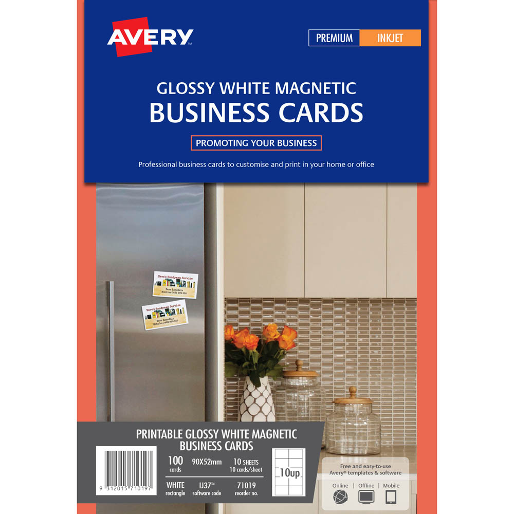 Avery 71019 lj37 magnetic business cards pack 100 positive stationery image for avery 71019 lj37 magnetic business cards pack 100 from positive stationery reheart Gallery