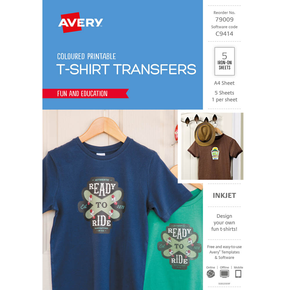 avery 79009 c9414 inspired t shirt transfer a4 colour pack 5 york