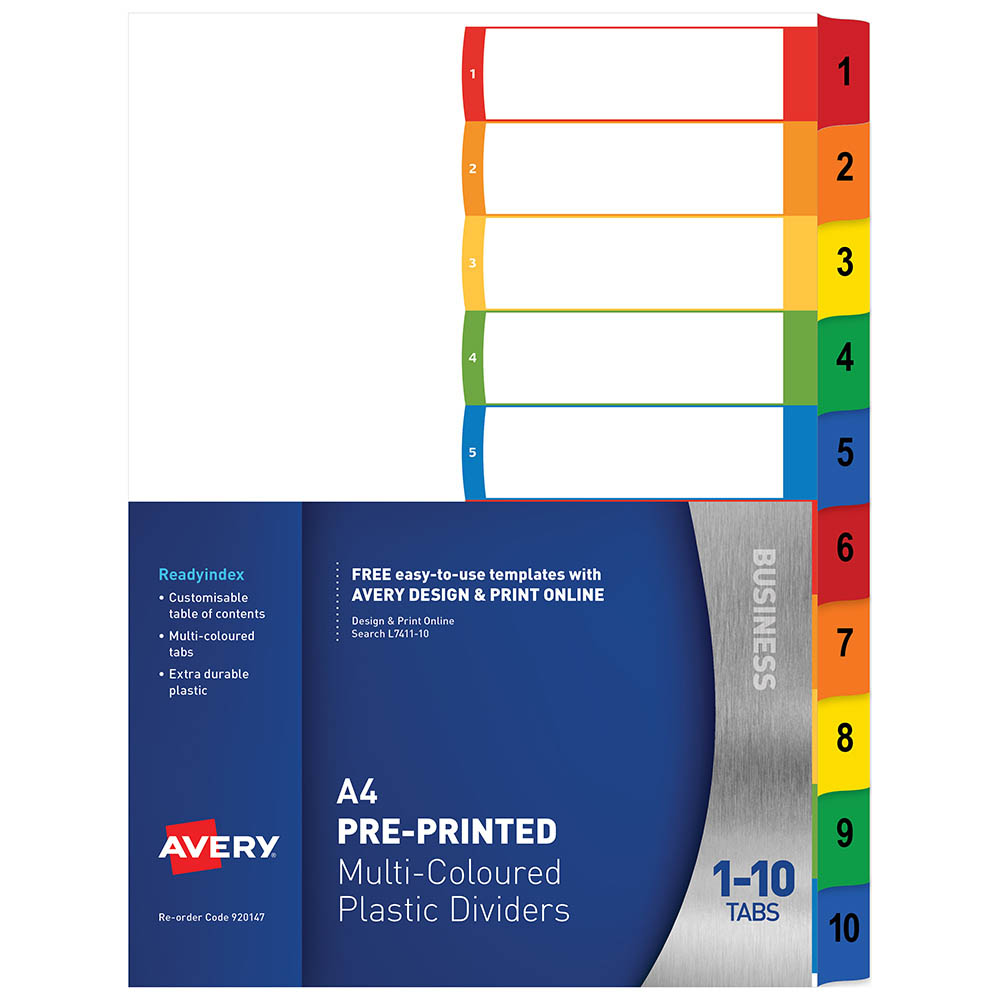 Avery 920147 L7411 10 Customisable Divider Pp Multicolour 1 10 Tabs