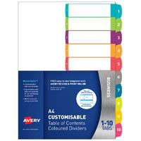 AVERY 922004 L7411-10 CUSTOMISABLE TABLE OF CONTENTS COLOURED DIVIDER 1-10 TAB A4