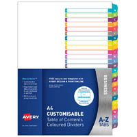 AVERY 922007 L7411-26 CUSTOMISABLE TABLE OF CONTENTS COLOURED DIVIDERS A-Z TABS A4