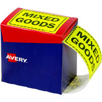 AVERY 932614 MESSAGE LABEL MIXED GOODS 125 X 75MM FLUORO YELLOW PACK 750