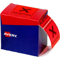 AVERY 932623 MESSAGE LABEL REJECTED 75 X 74.2MM FLUORO RED PACK 1000