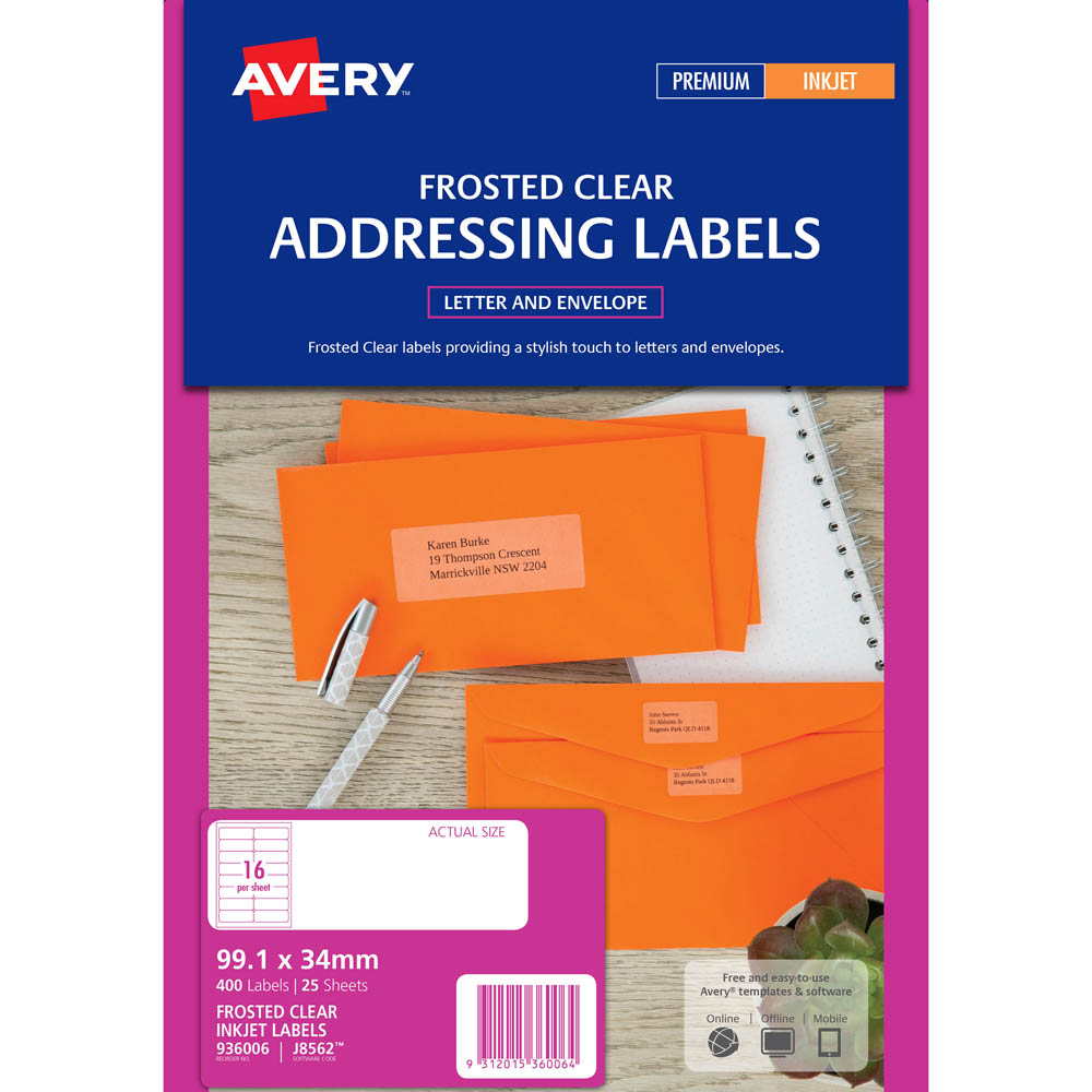 Avery 936006 J8562 Address Label Frosted Clear Inkjet 16Up Clear