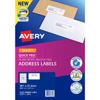 AVERY 936034 J8651 QUICK PEEL ADDRESS LABEL WITH SURE FEED INKJET 65UP WHITE PACK 25