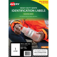 AVERY 936067 J4776 HEAVY DUTY INKJET LABELS 1UP WHITE PACK 10